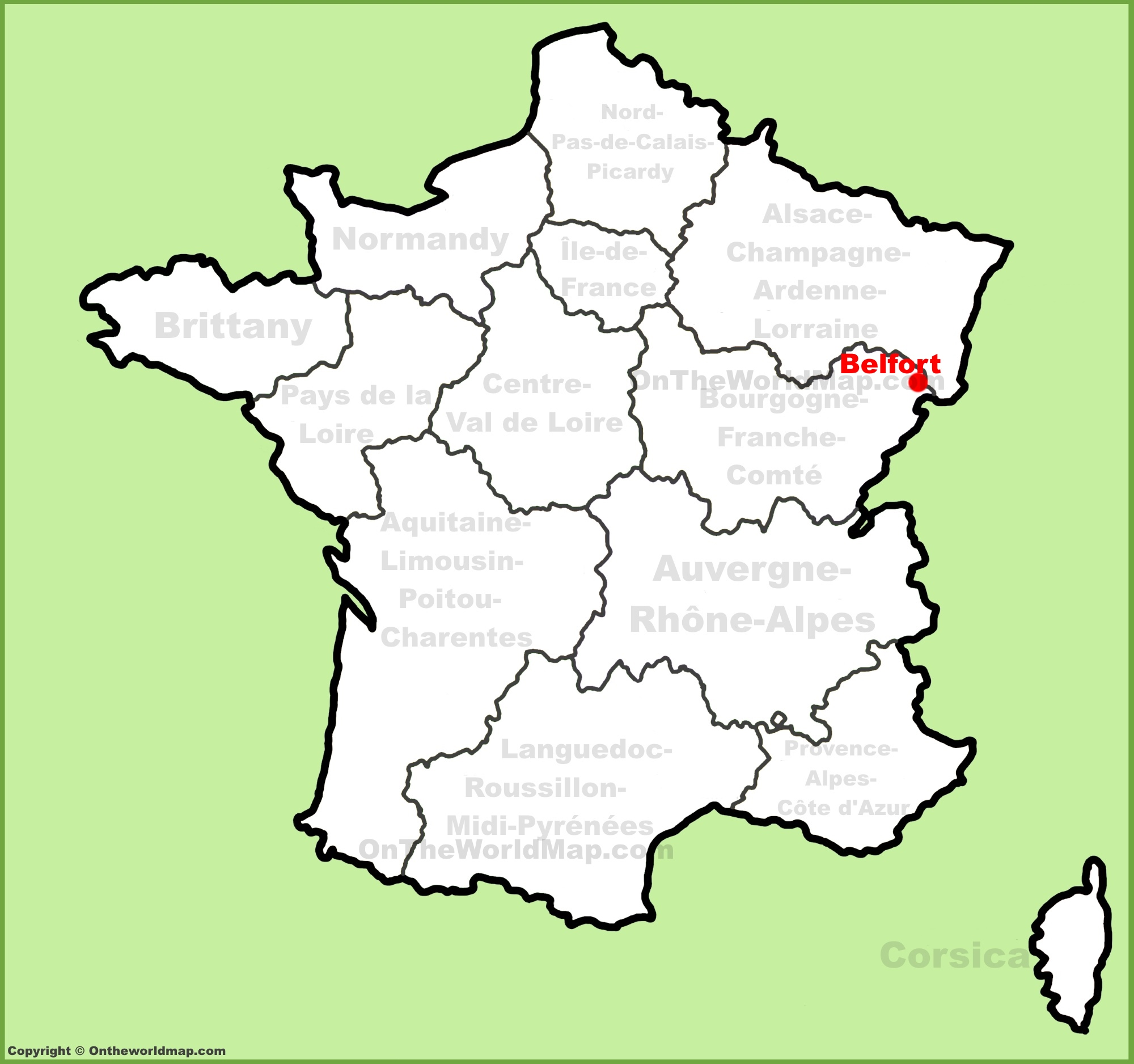 Belfort location on the France map