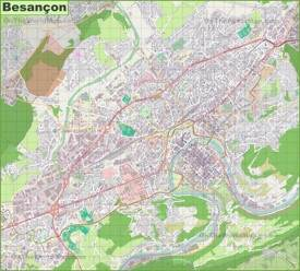 Large detailed map of Besançon