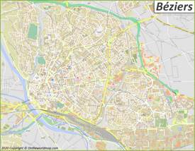 Detailed Map of Béziers