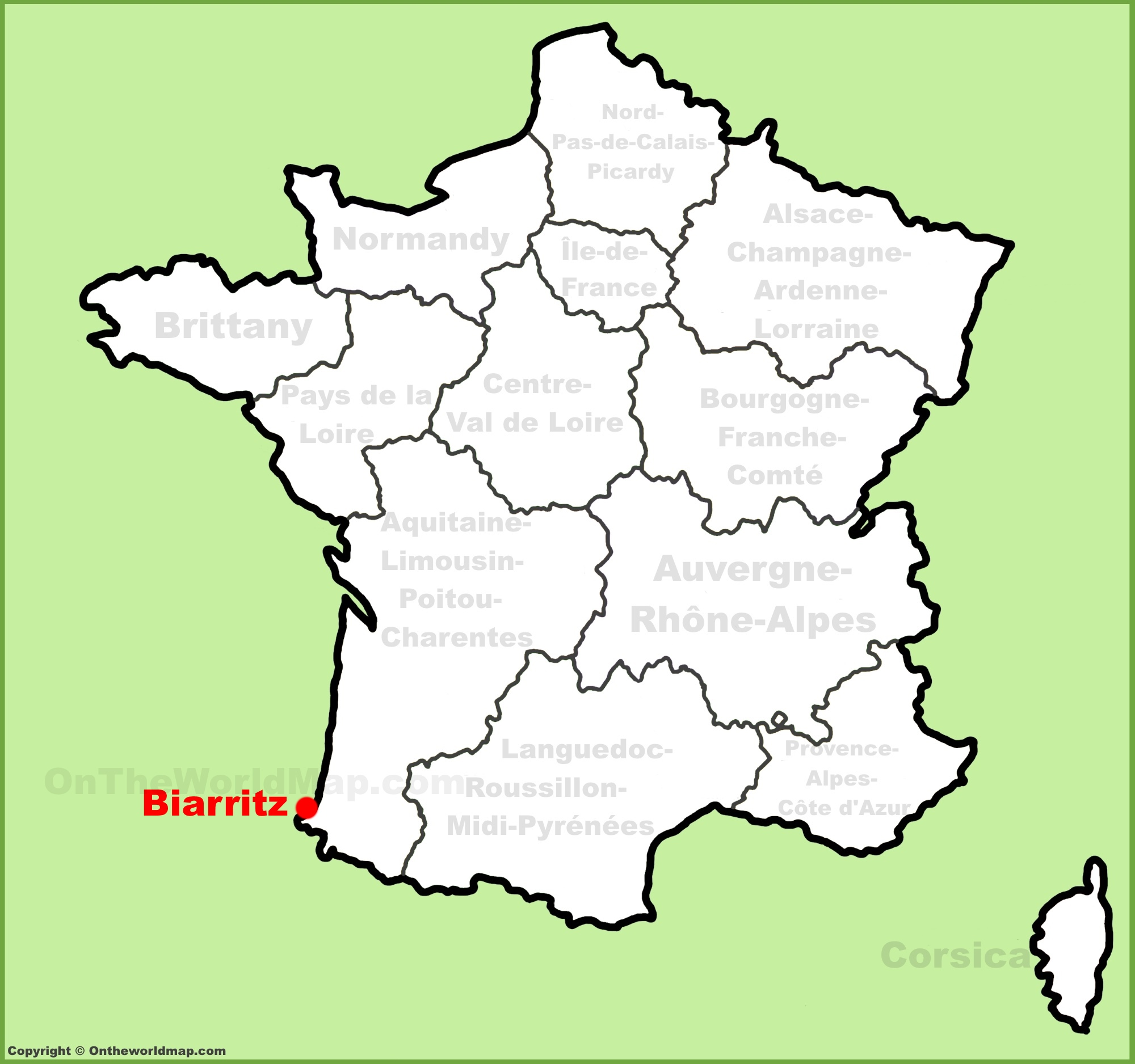 Biarritz location on the France map