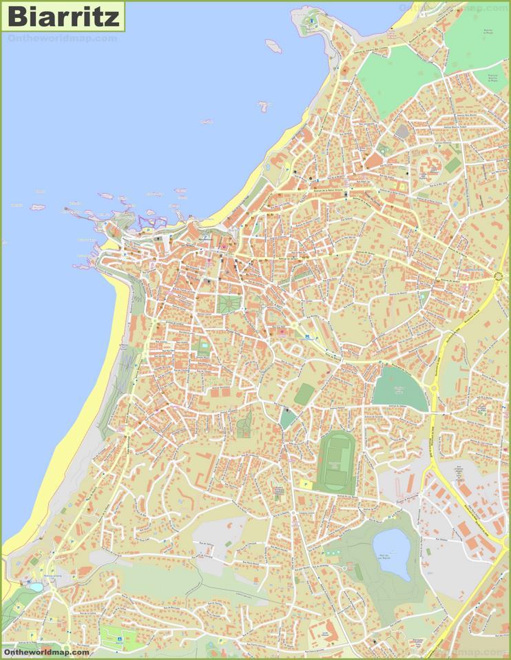 Large detailed map of Biarritz