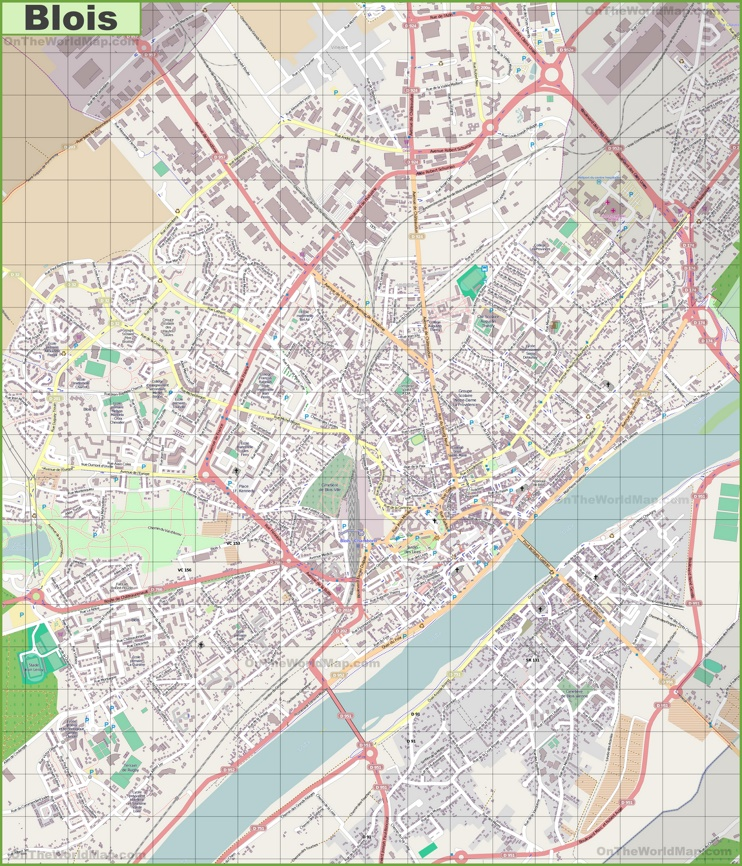 Large detailed map of Blois