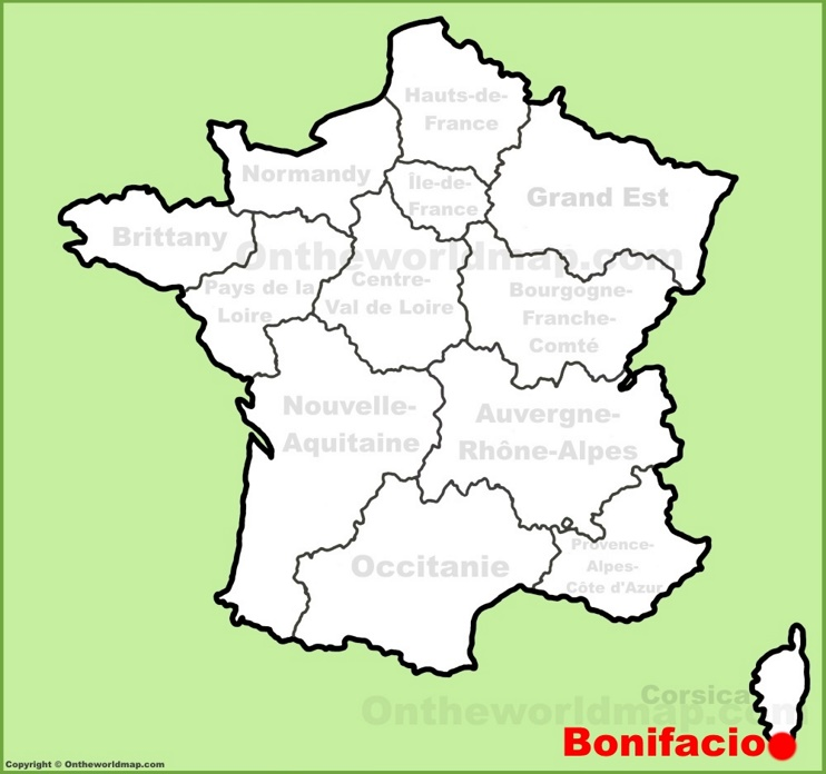 Bonifacio location on the France map