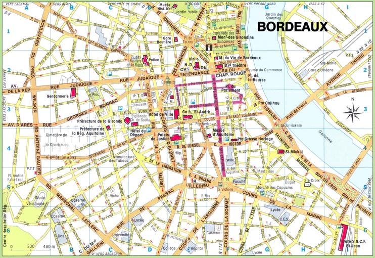 Bordeaux city center map