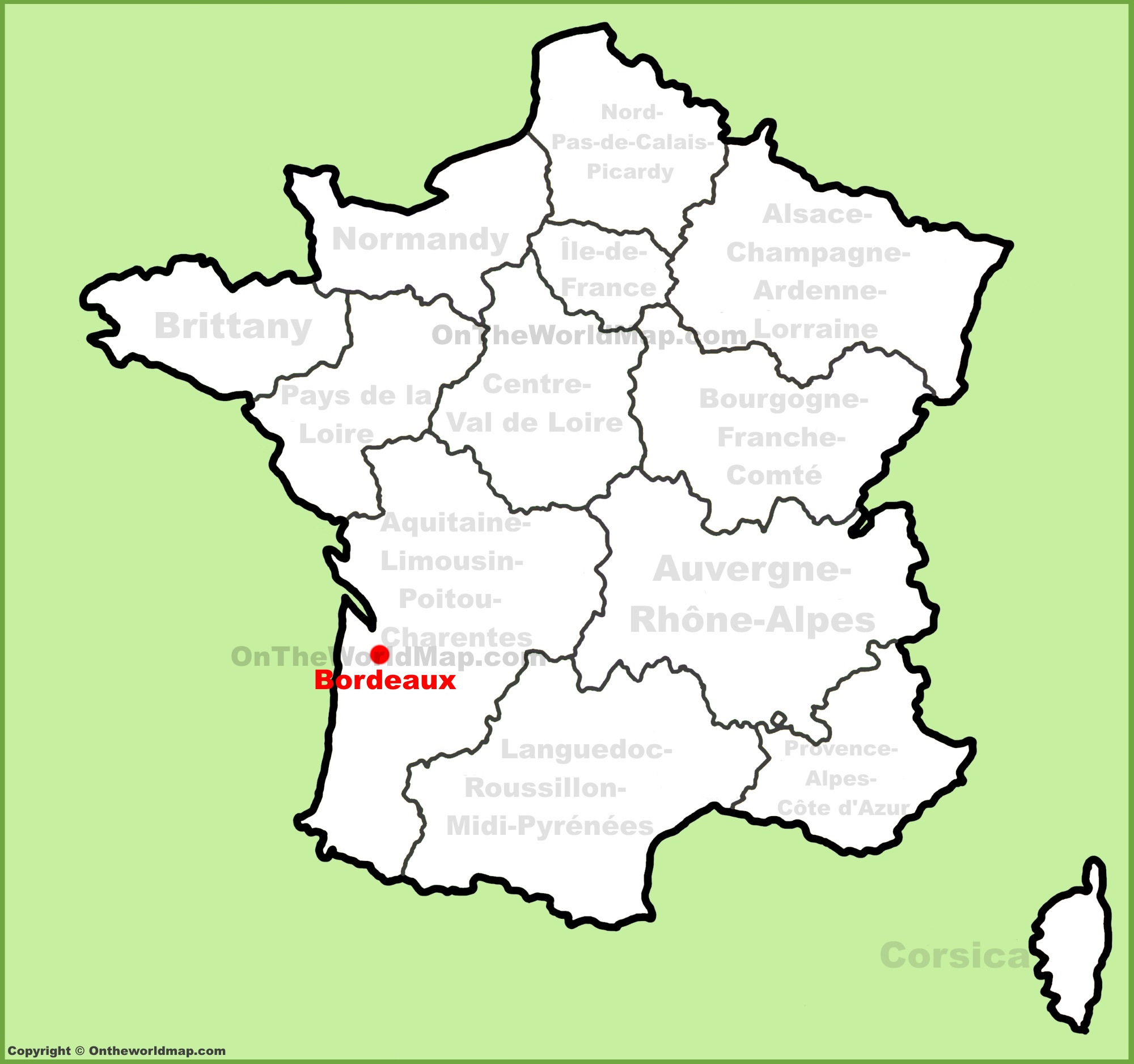 Bordeaux location on the france map for Bordeaux france