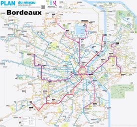 Bordeaux tram and bus map