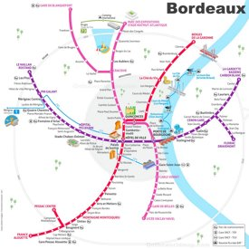 Bordeaux tram map with attractions