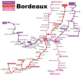 Bordeaux tramway map