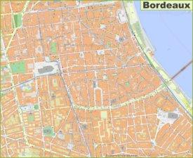 Detailed map of Bordeaux city center
