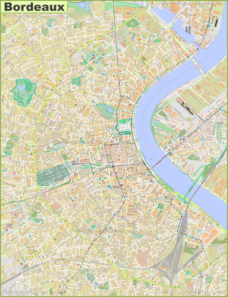 Large detailed map of Bordeaux