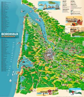 Tourist map of surroundings of Bordeaux