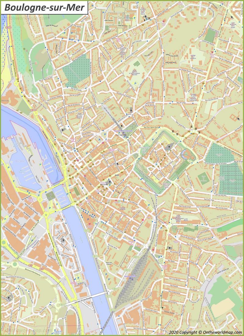 Map of Boulogne-sur-Mer