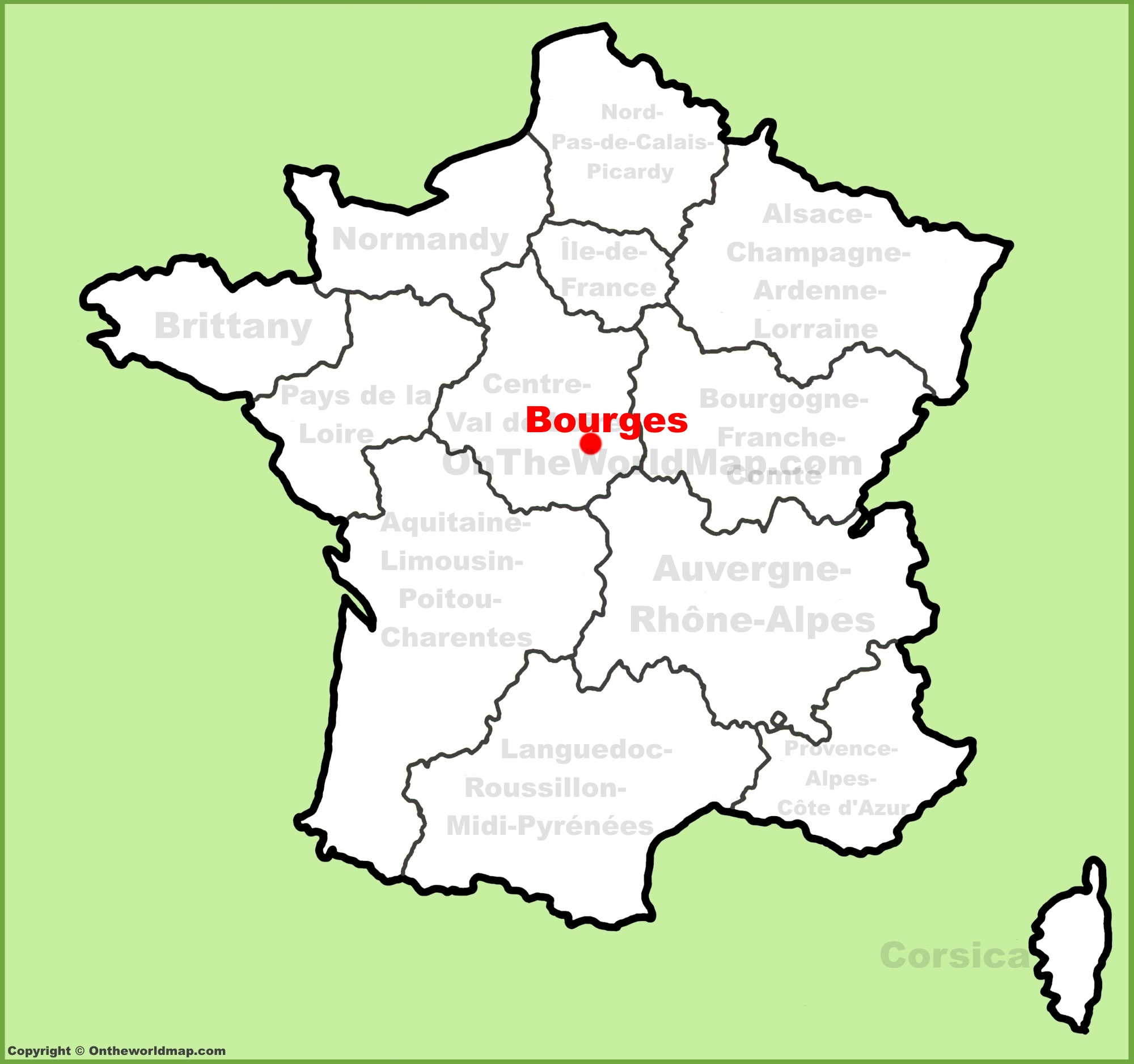 Bourges location on the France map