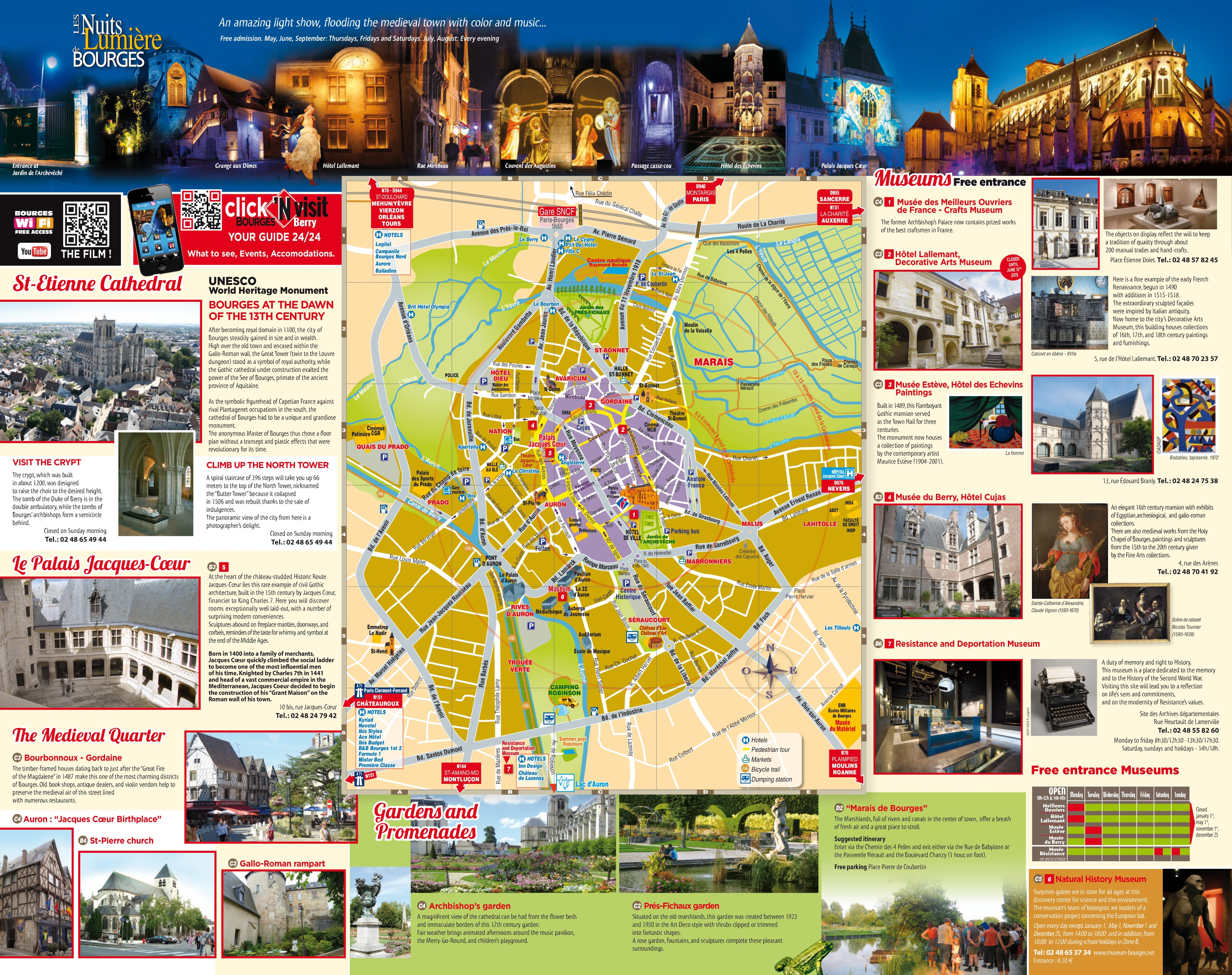 Bourges sightseeing map