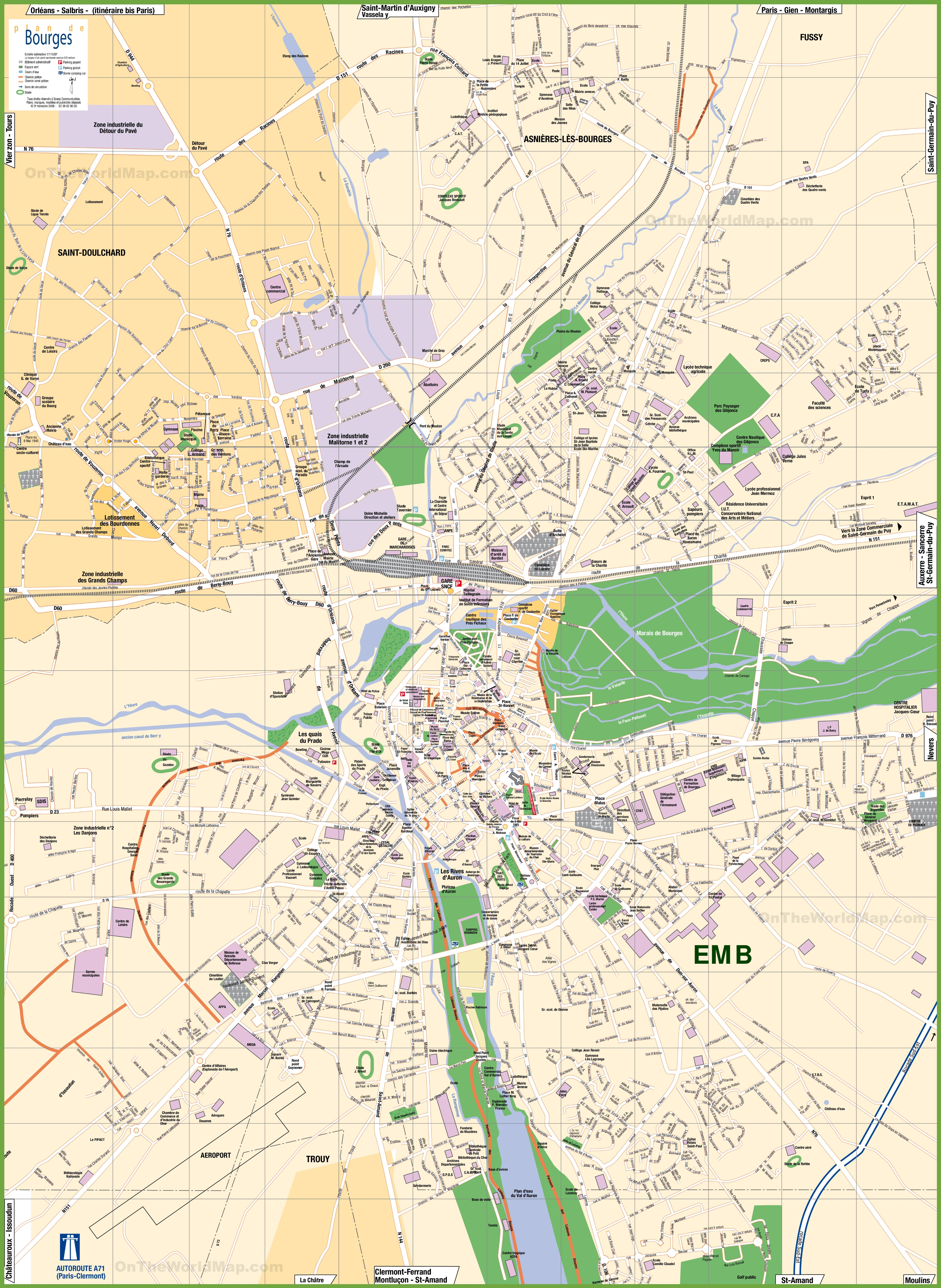 Large detailed tourist map of Bourges