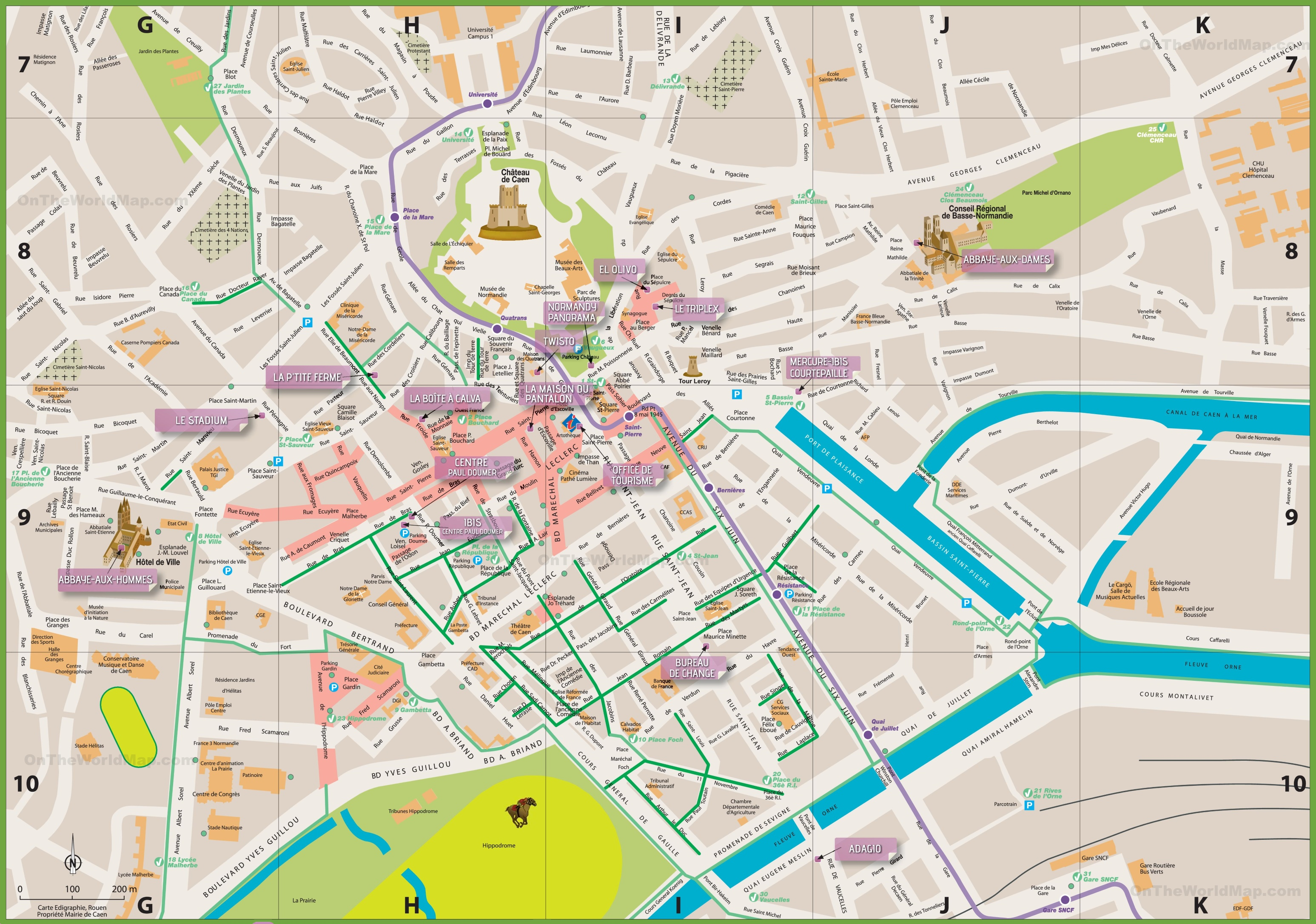 Caen city center map