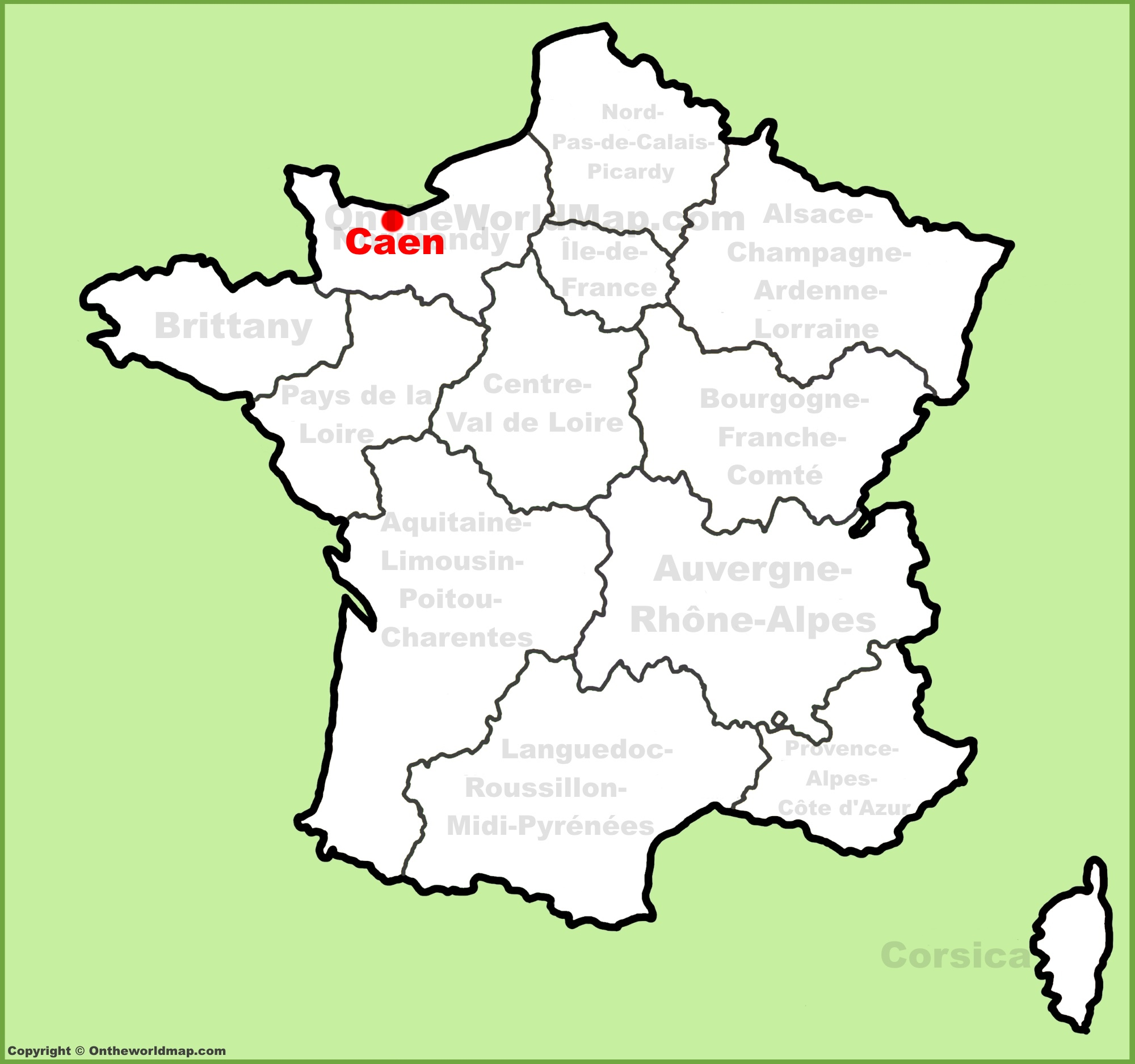 Caen location on the France map