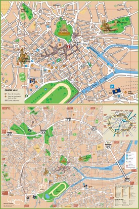 Caen sightseeing map
