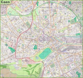 Large detailed map of Caen
