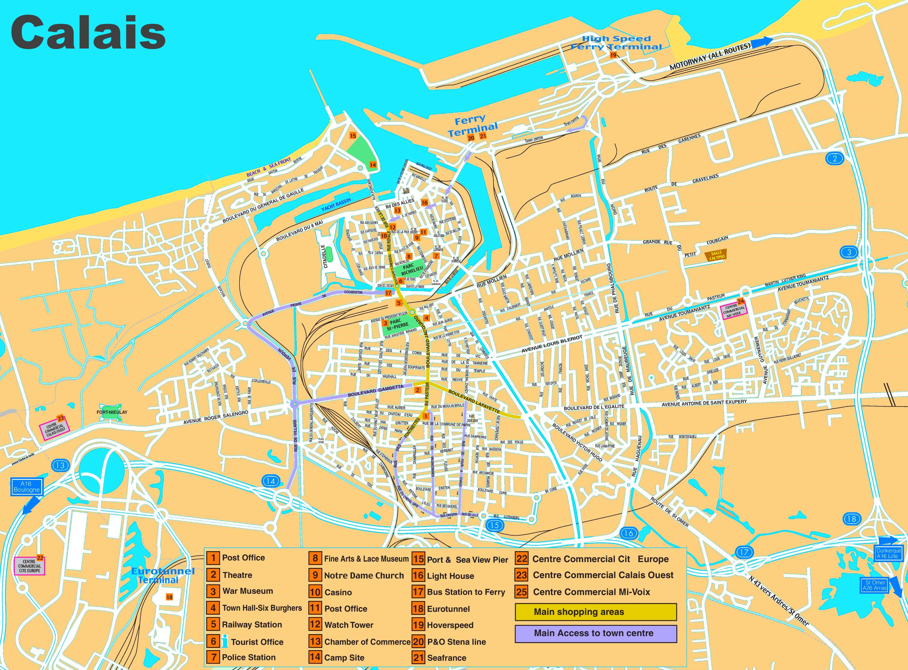 Map Of Calais Calais sightseeing map Map Of Calais