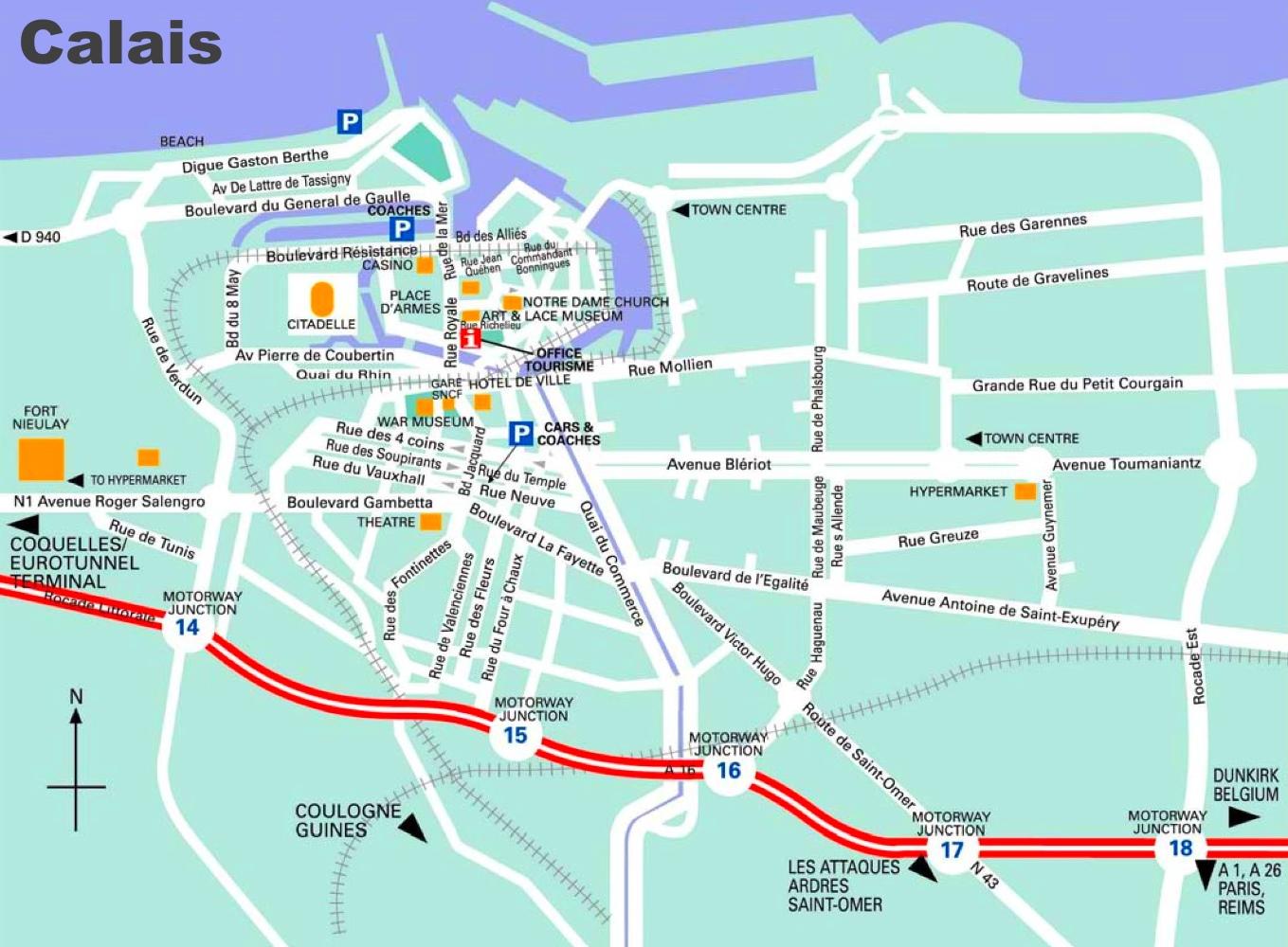 Map Of Calais Calais tourist map Map Of Calais