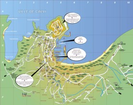 Calvi hotels and sightseeings map