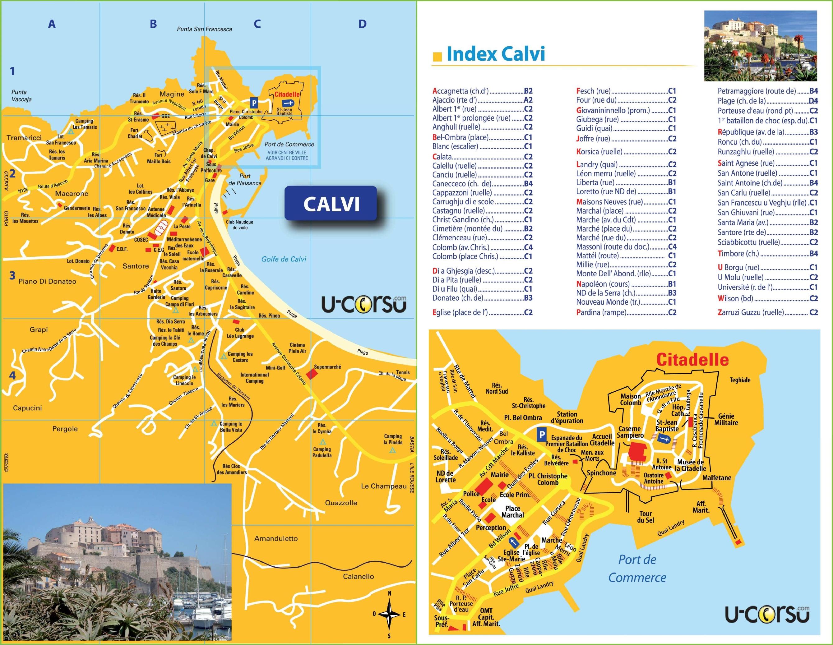 Calvi tourist map