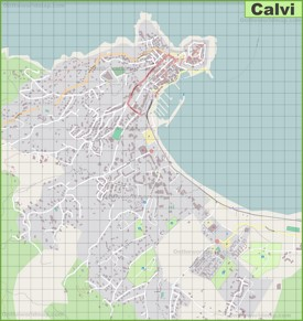 Detailed map of Calvi