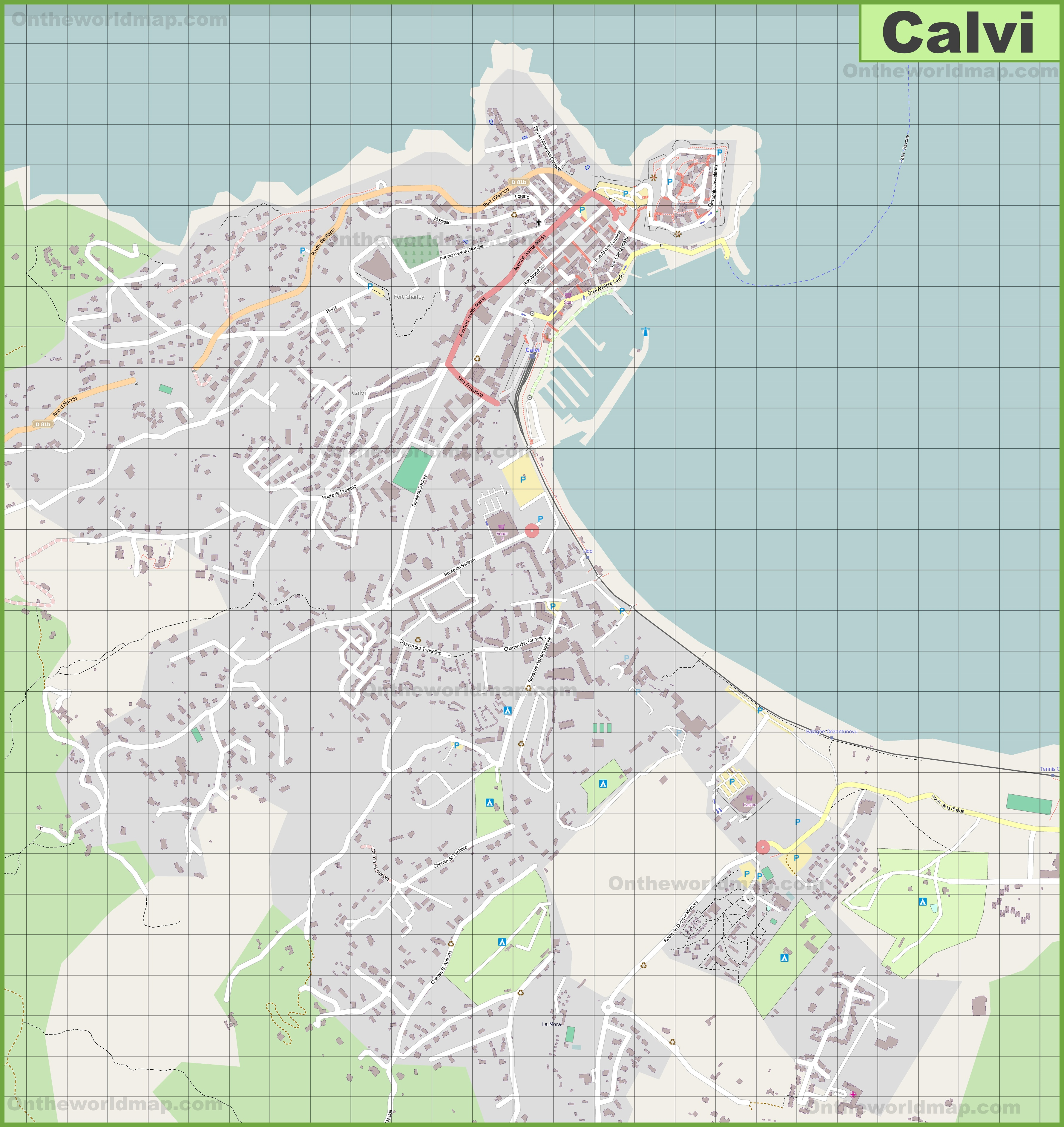 Detailed map of Calvi