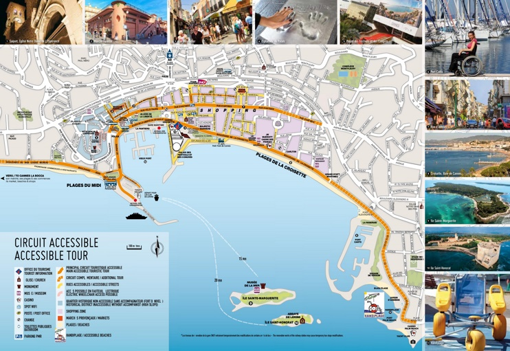 Cannes sightseeing map on