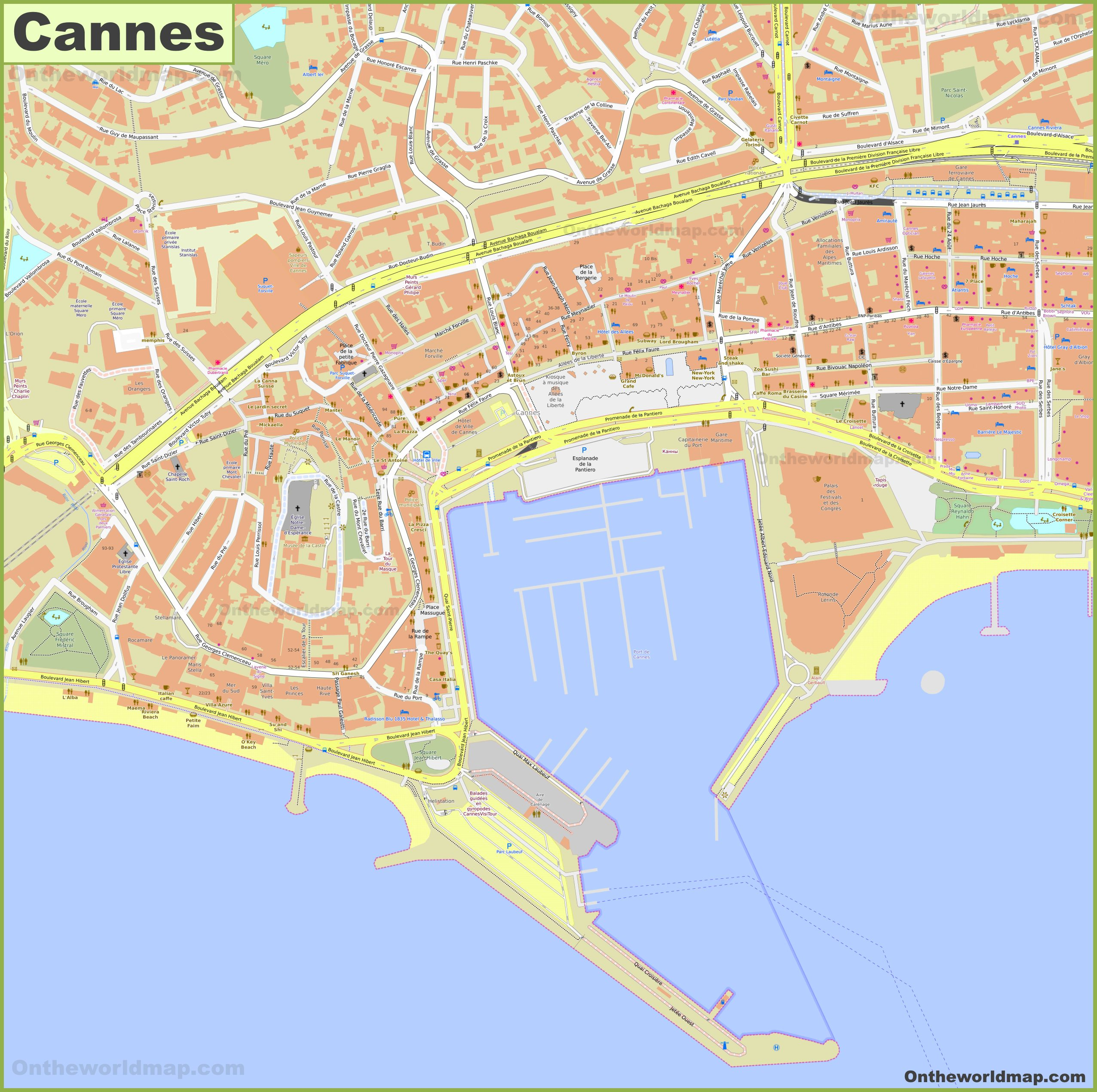 Detailed map of Cannes city center on