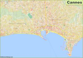Large detailed map of Cannes