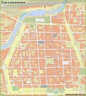 Carcassonne city center map