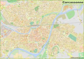 Large detailed map of Carcassonne