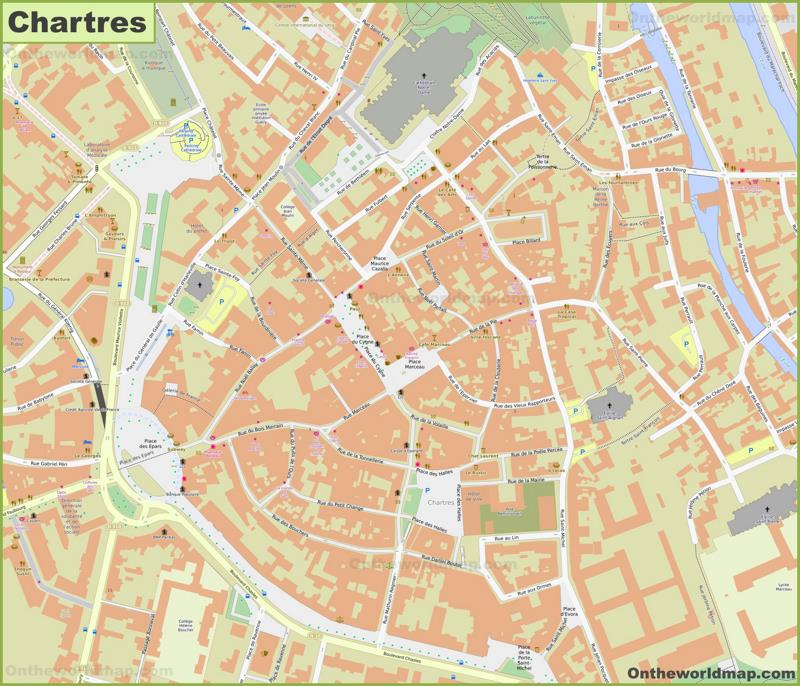Chartres City Center Map