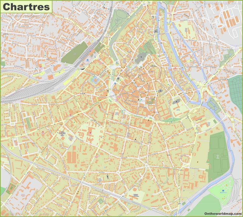 Detailed Map of Chartres