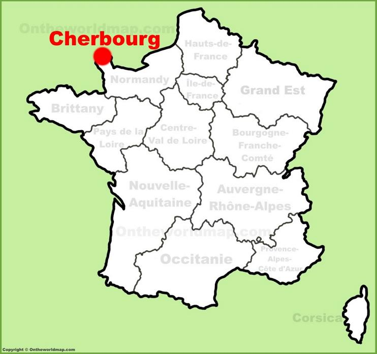Cherbourg location on the France map