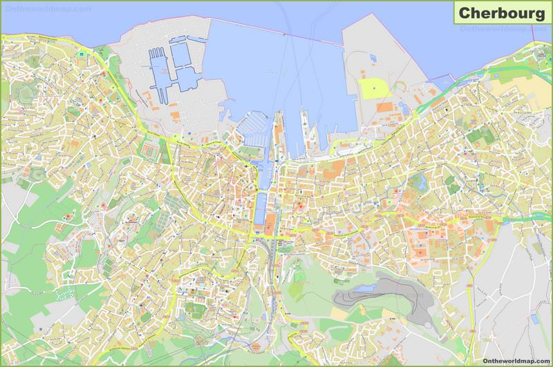 Detailed Map of Cherbourg