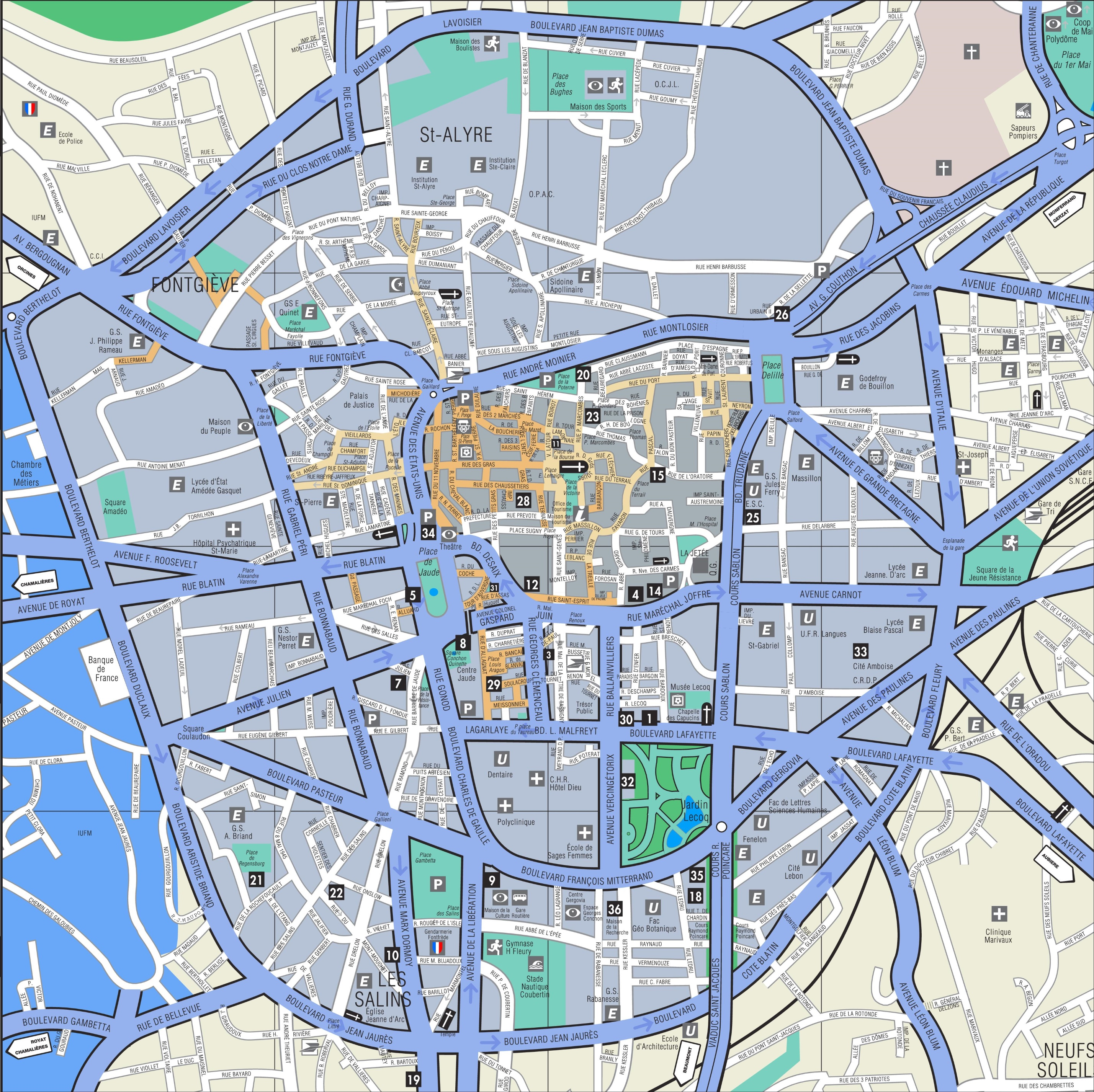Clermont Ferrand city center map
