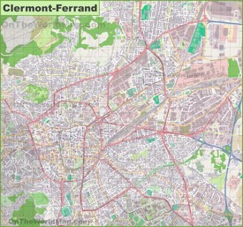Large detailed map of Clermont-Ferrand