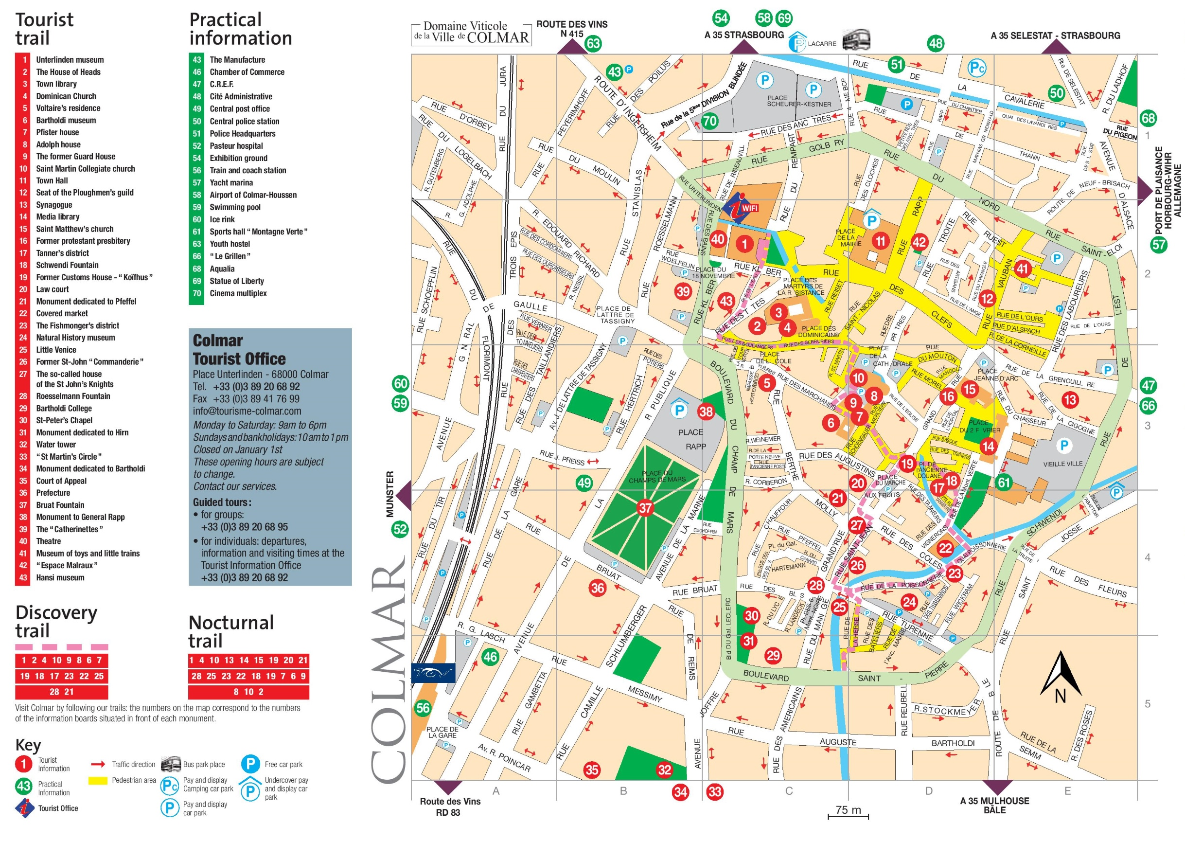 Colmar tourist attractions map
