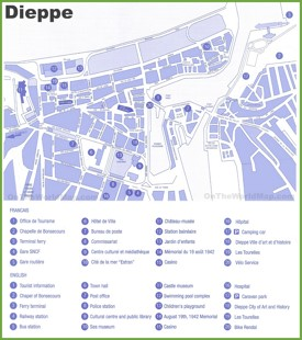 Dieppe city center map
