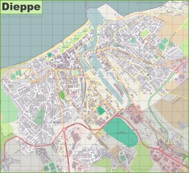 Large detailed map of Dieppe