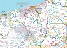Transport map of surroundings of Dunkirk