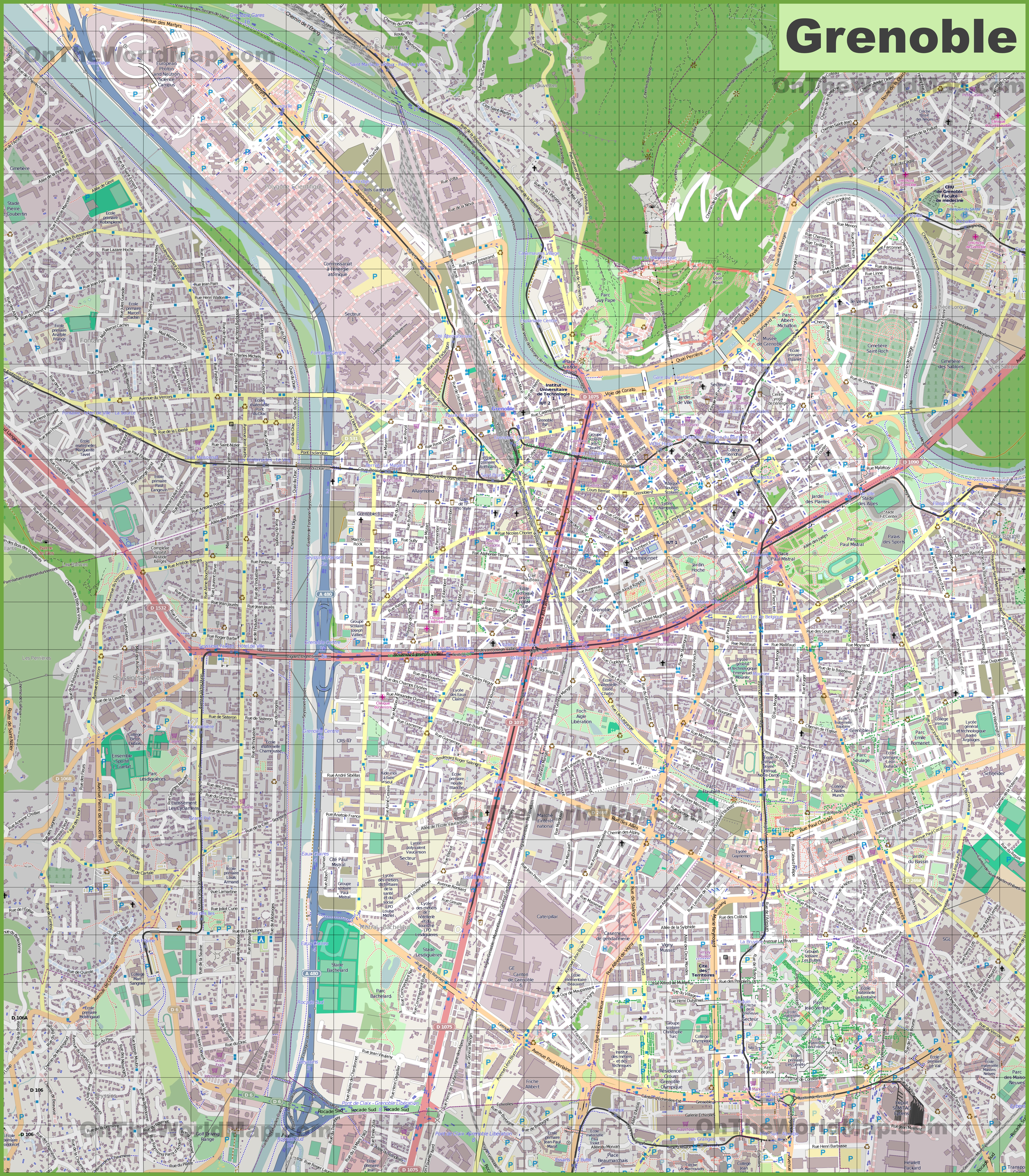 Large detailed map of Grenoble