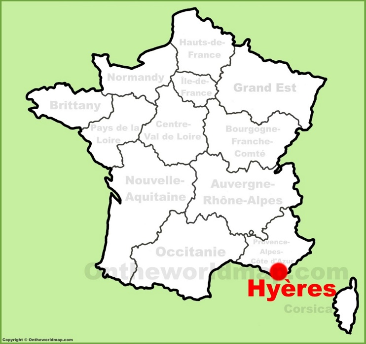 Hyères location on the France map