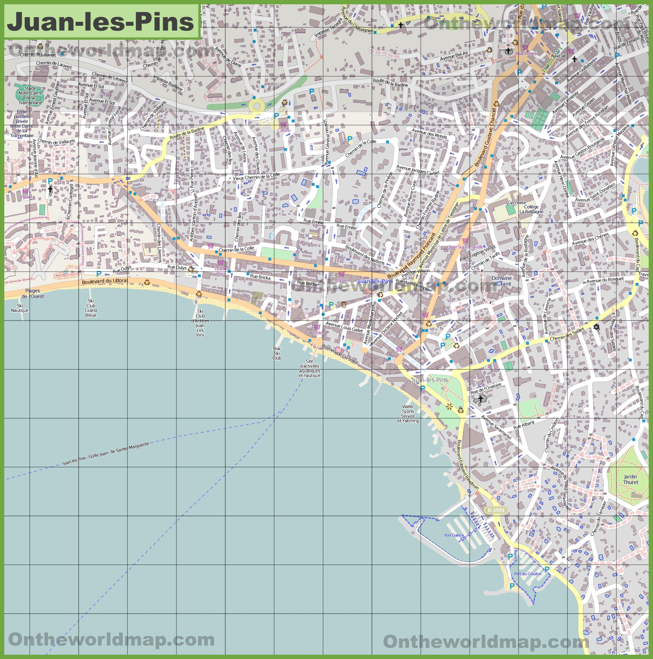 Large detailed map of JuanlesPins