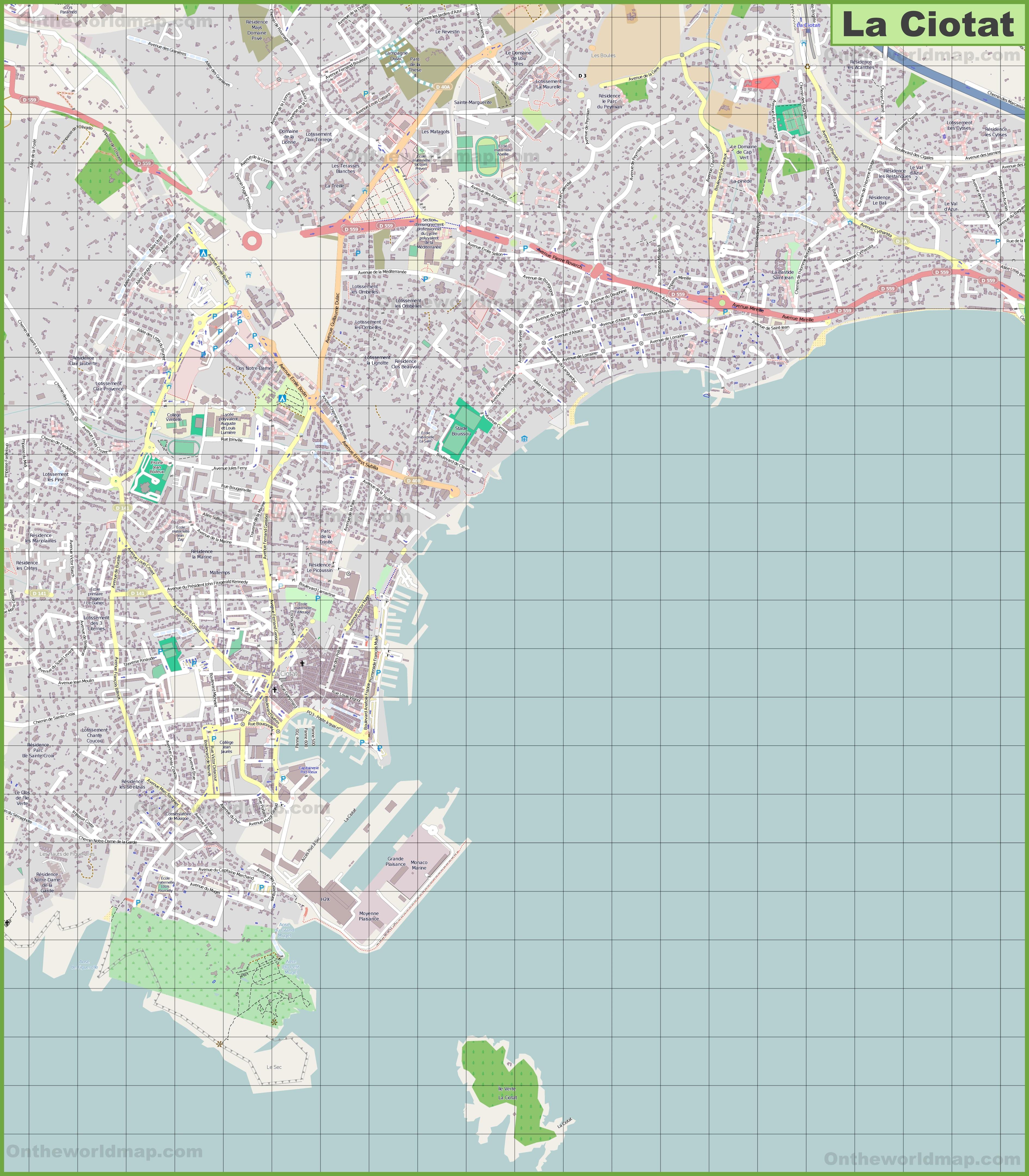Large detailed map of La Ciotat