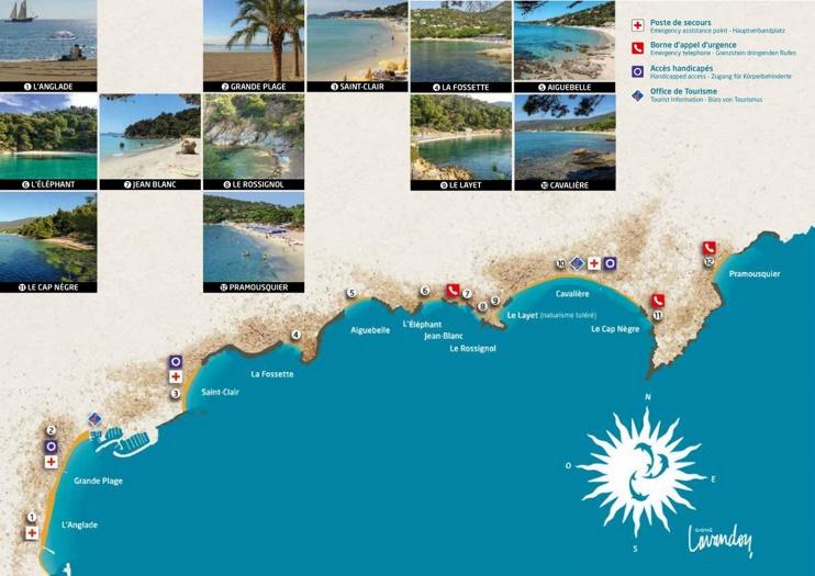 Le Lavandou beaches map