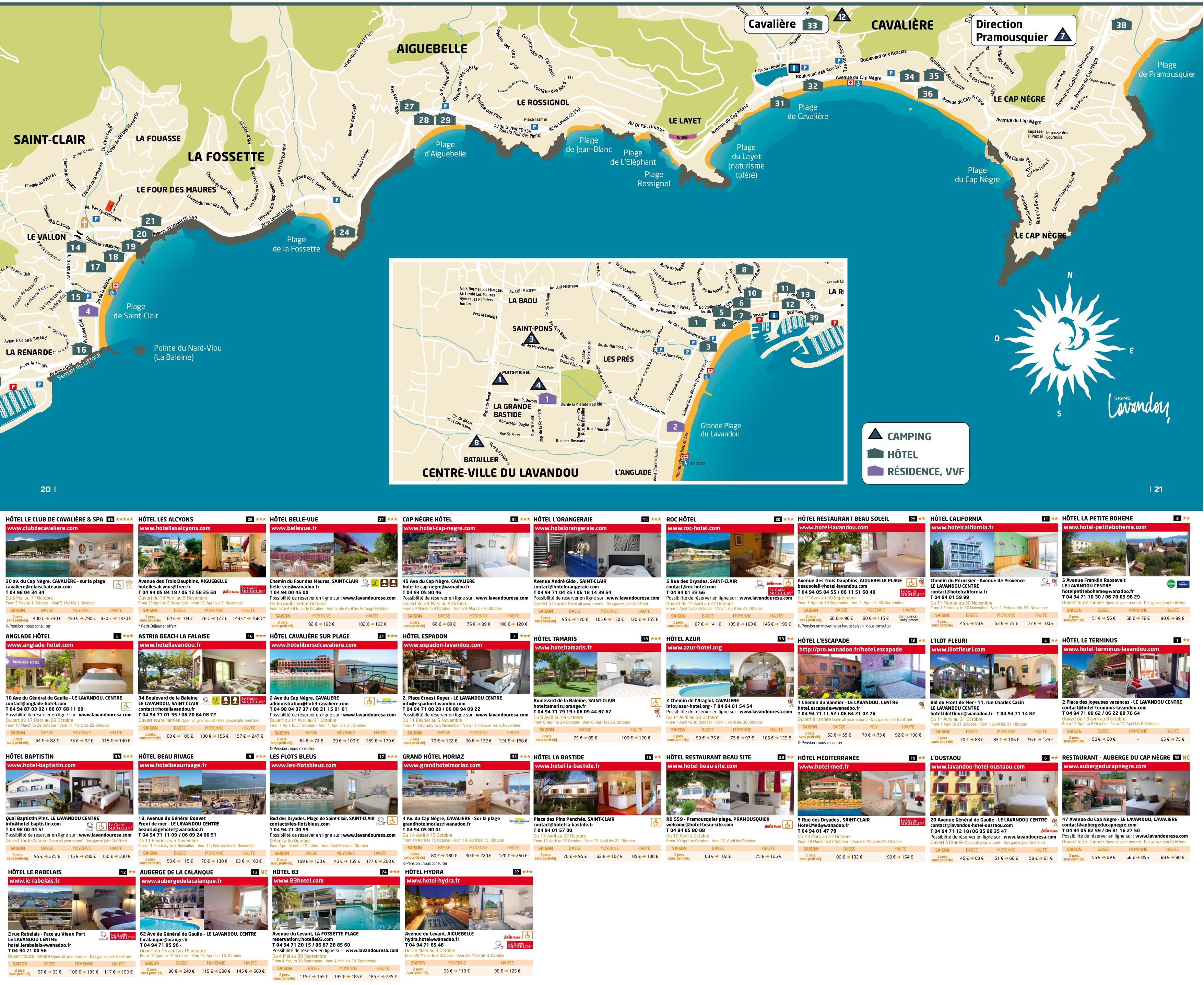 Le Lavandou hotel map